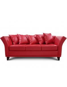 Sillon 3 cuerpos Ecocuero Color Rojo - Monaco
