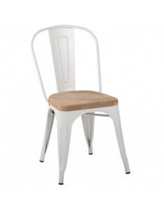 Silla tolix asiento de madera, color blanca. Perfil.