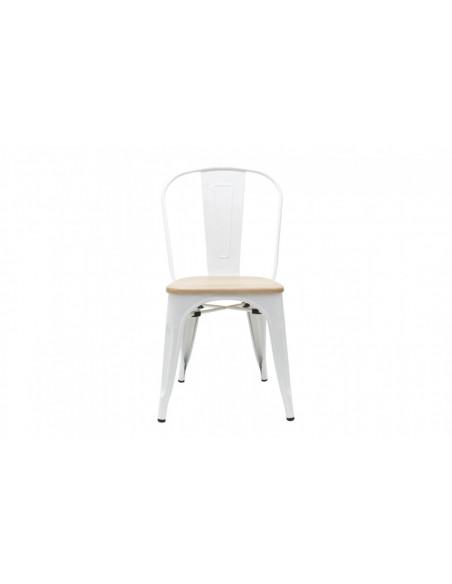 Silla tolix asiento de madera, color blanca.